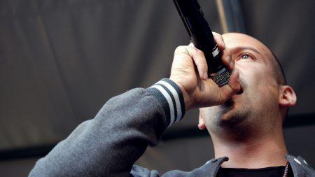 raf, microphone, bald