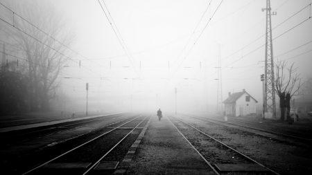 railroad, fog, night