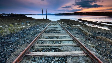 rails, nature, sky