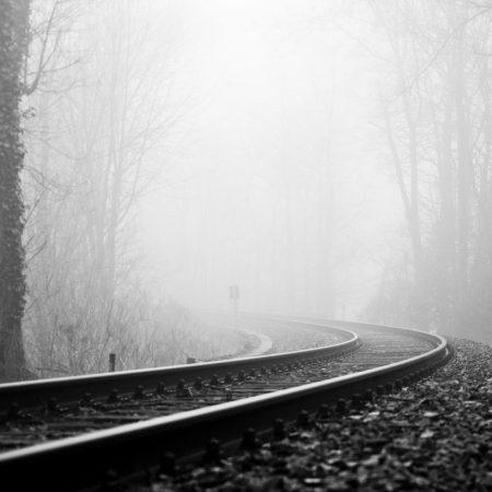 rails, railway, fog