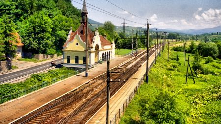rails, railway, station