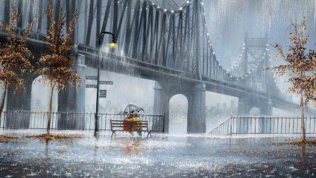 rain, trees, lights