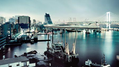 rainbow bridge, tokyo, city