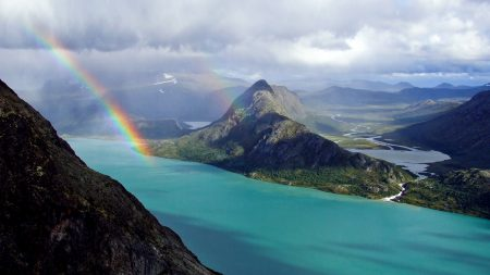 rainbow, ocean, mountains