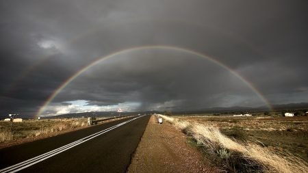 rainbow, road, steppe