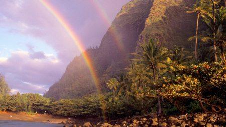 rainbow, sky, stones