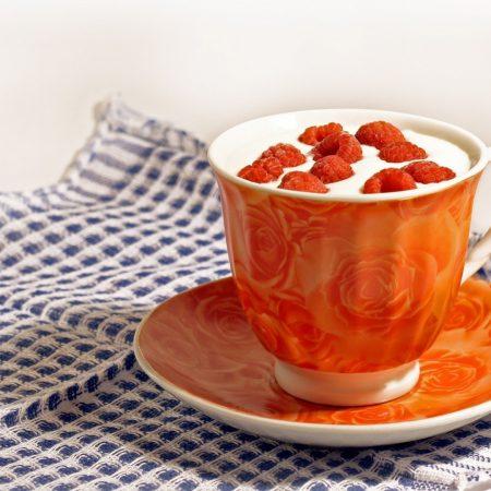 raspberry, milk, cup