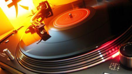 record, player, light