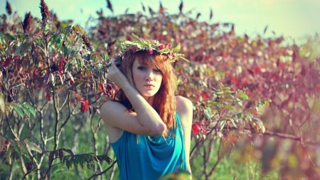 red-haired, girl, tree