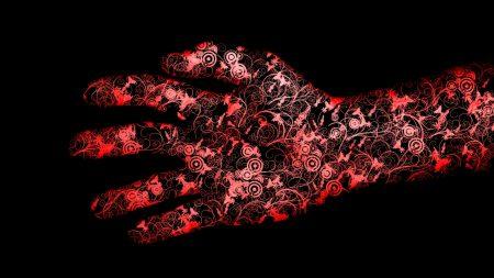 red, black, hand