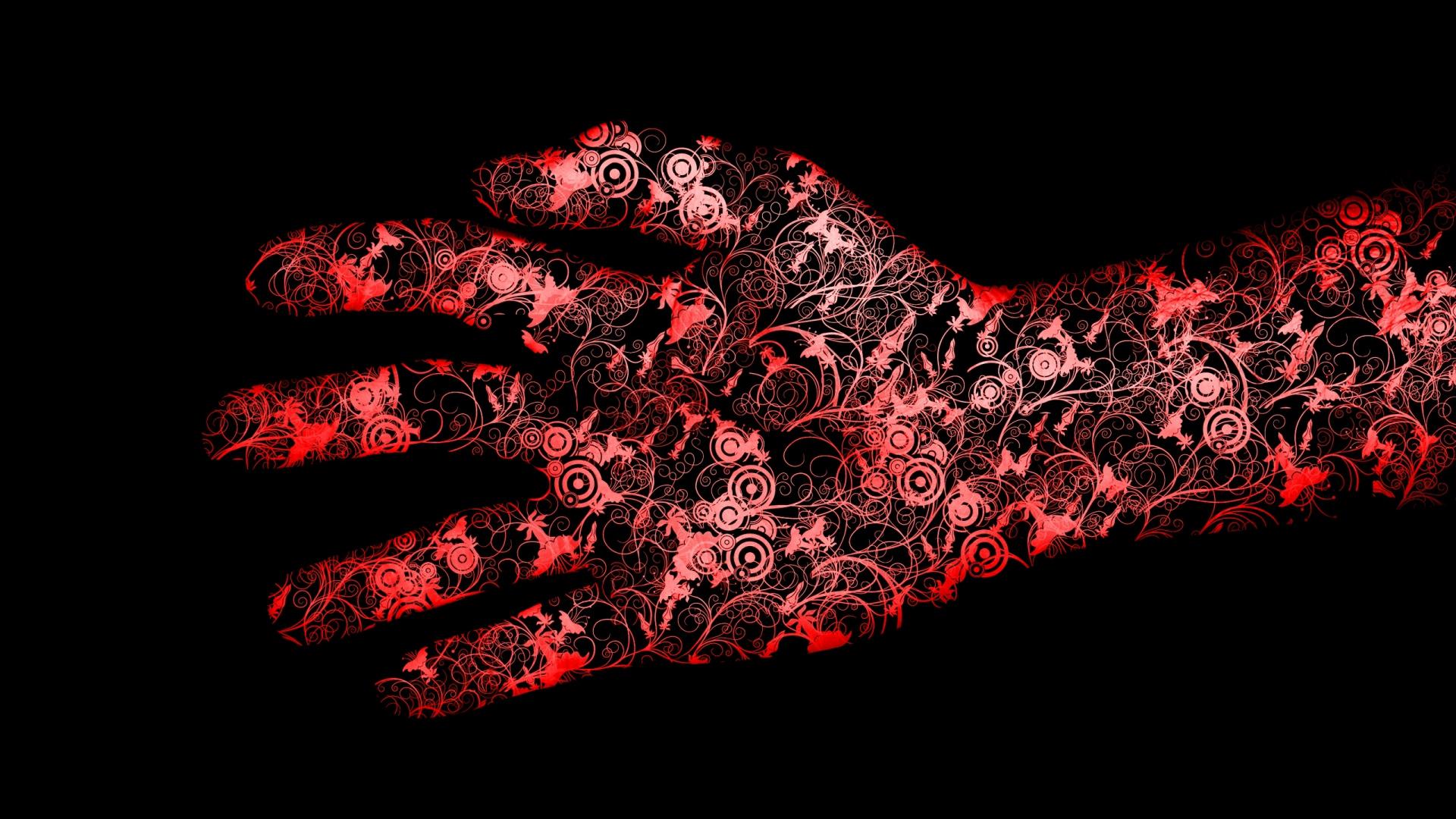 Download Wallpaper 1920x1080 Red Black Hand Flowers Full Hd 1080p