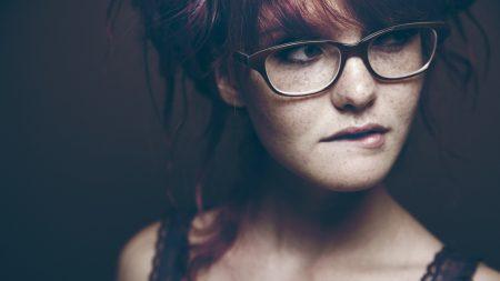 redhead, girl, glasses