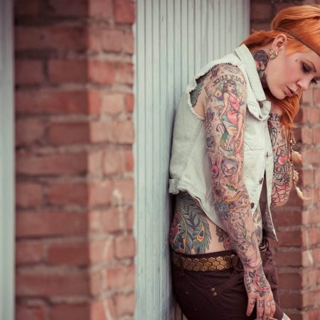 redhead, girl, tattoo