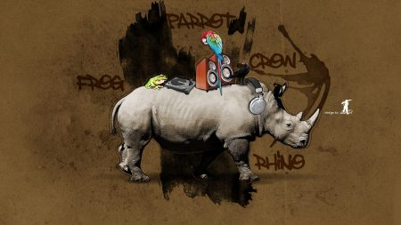 rhino, parrot, colorful
