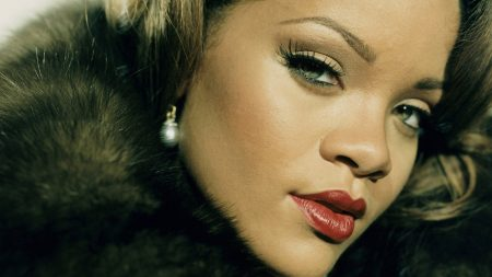 rihanna, fur, make-up