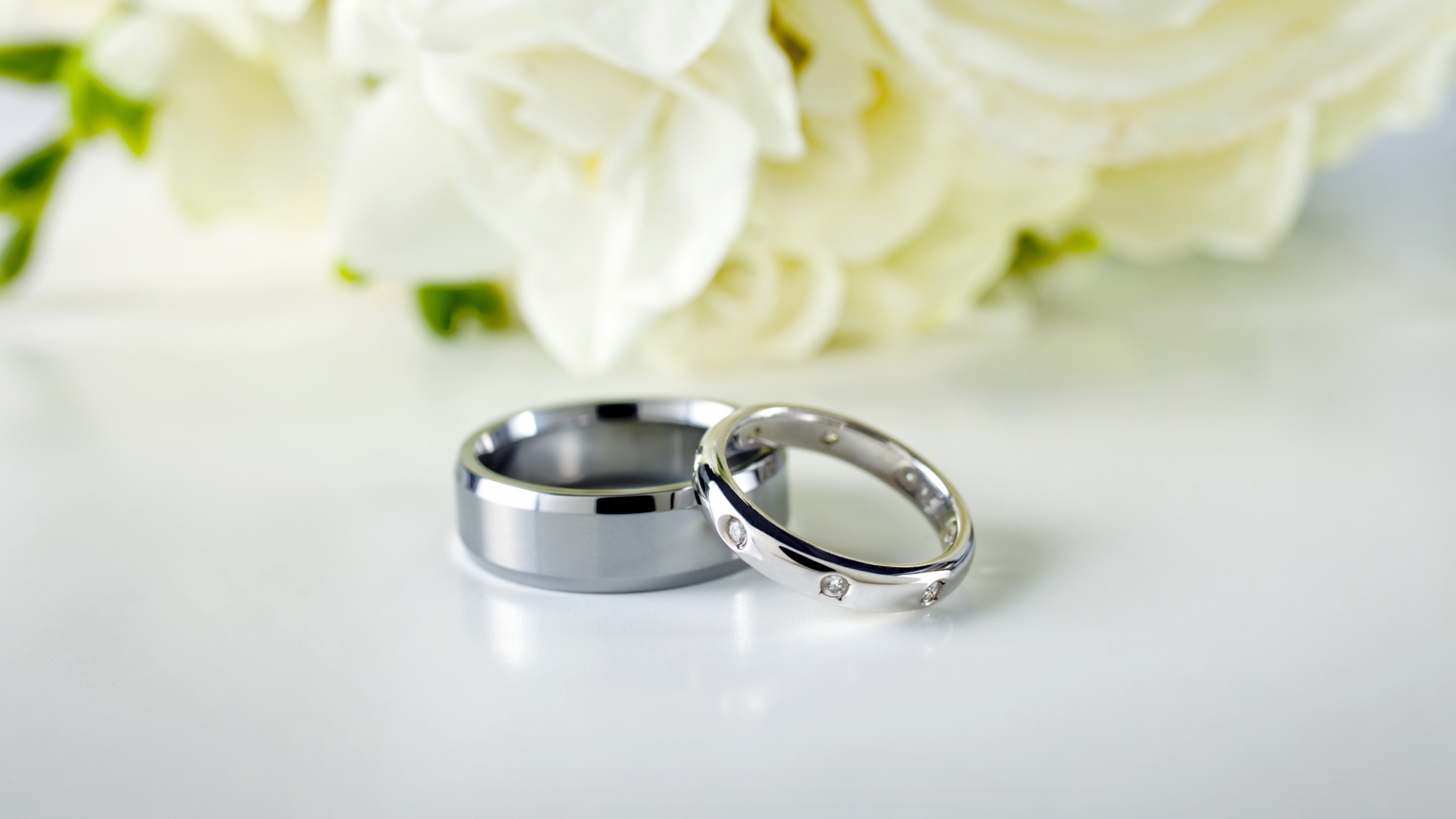 Download Wallpaper 1920x1080 Rings Couple Wedding Silver Flowers Full Hd 1080p Hd Background