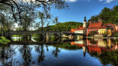 river, bridge, houses