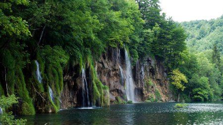 river, cliffs, waterfalls