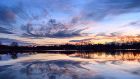 river, evening, orange