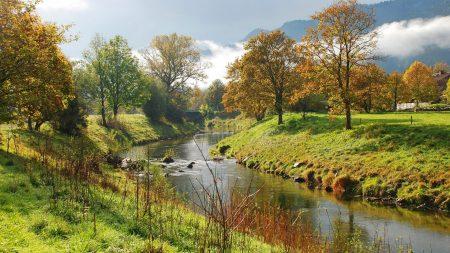 river, grass, course