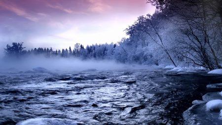 river, ice, trees