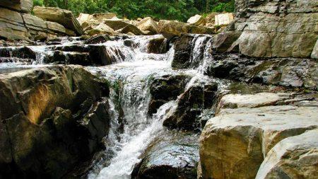 river, mountain, stones