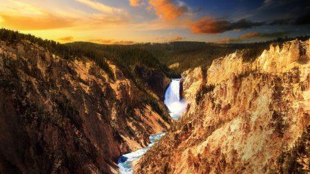 river, mountains, falls