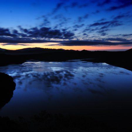 river, night, sunset