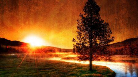 river, sun, decline