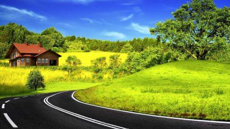 road, asphalt, house