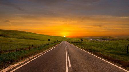 road, bending, marking