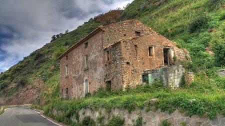 road, destroyed building, landscape