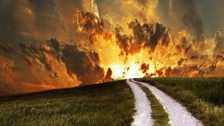 road, field, decline