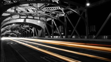 road, night, bridge