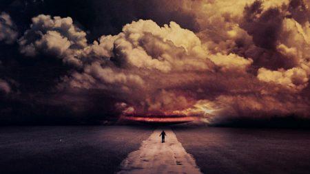 road, night, path