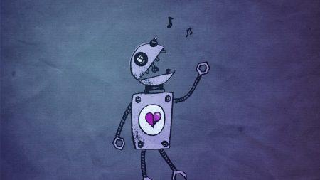 robot, blue, music