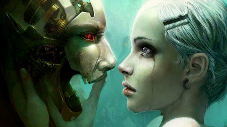 robot, girl, person