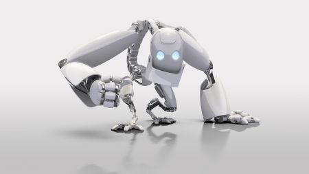 robot, white, blue