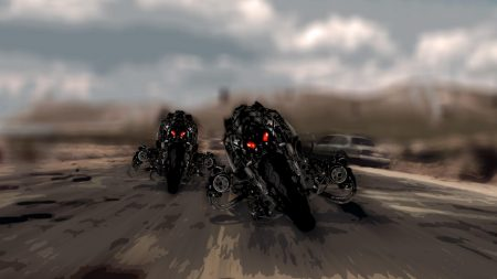 robots, motorcycles, road