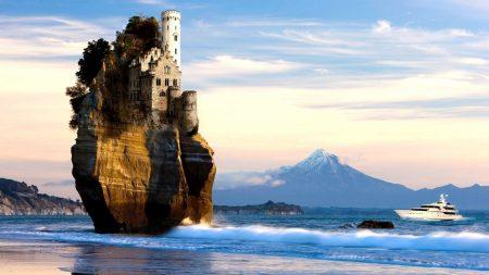 rock, sea, castle