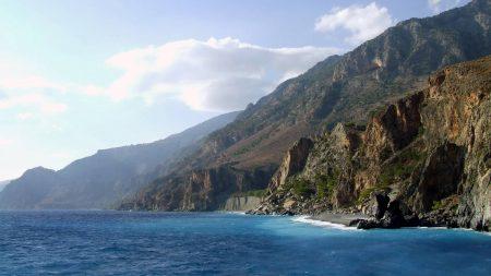 rocks, coast, mountains