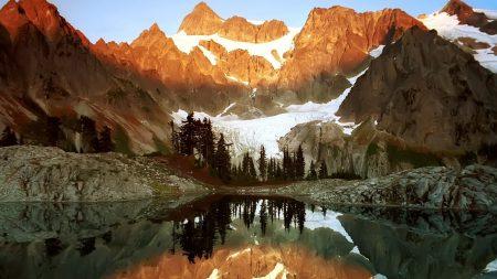 rocks, mountains, lake