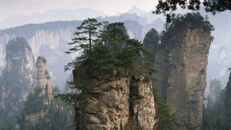 rocks, mountains, trees