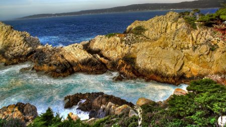 rocks, water, coast