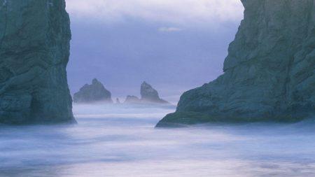 rocks, water, fog