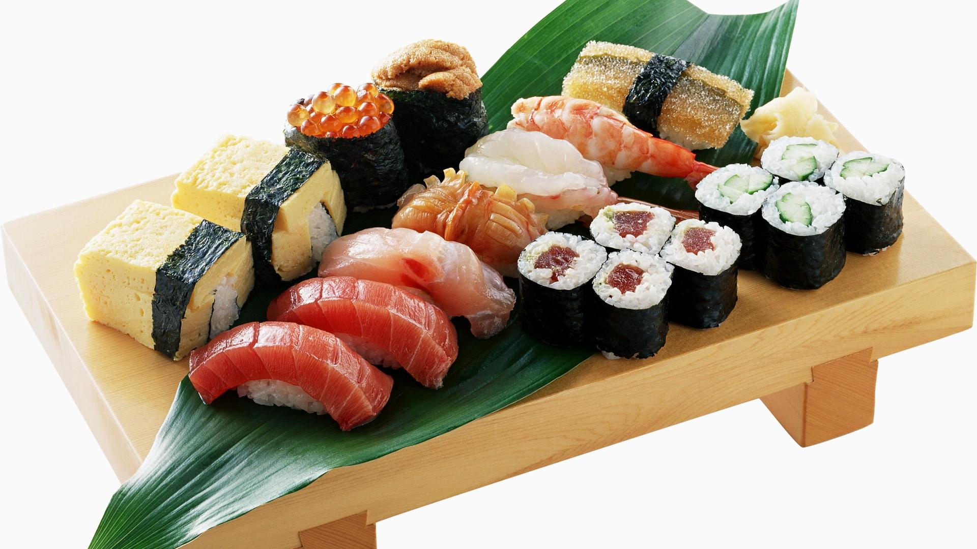 Download Wallpaper 1920x1080 rolls, sushi, fish, meat ...