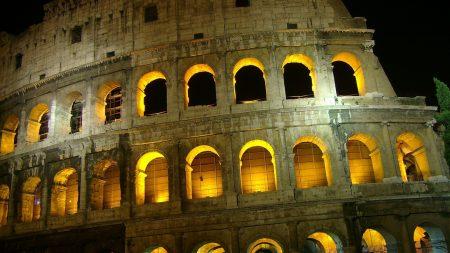 rome, colosseum, light