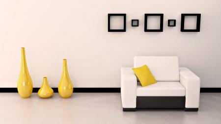 room, chair, vase