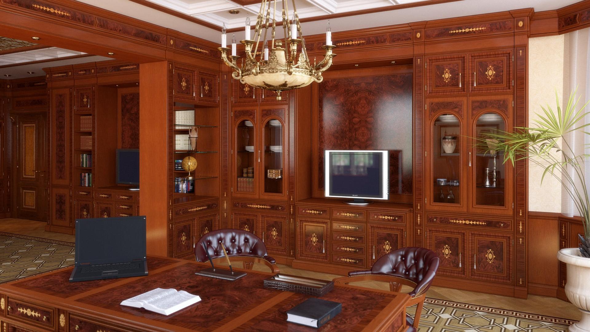 Download Wallpaper 1920x1080 Room Office Furniture Design Wood