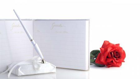 rose, flower, pen